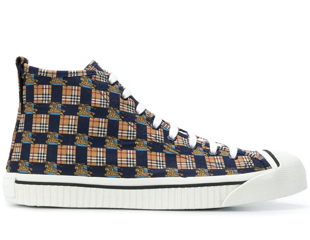 promo code 5c94d dfbff Détails sur BURBERRY SCARPE UOMO KINGLY CHECKED LOGO PRINT HIGH TOP  SNEAKERS 4076235