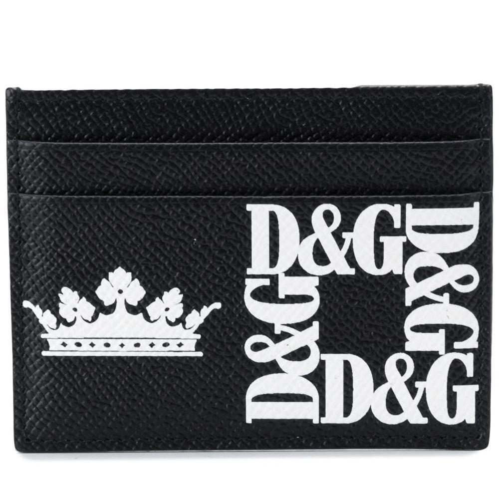 Dettagli Su Dolce Gabbana Porta Carte Di Credito Dg Crown Logo Cardholder Bp0330ak443