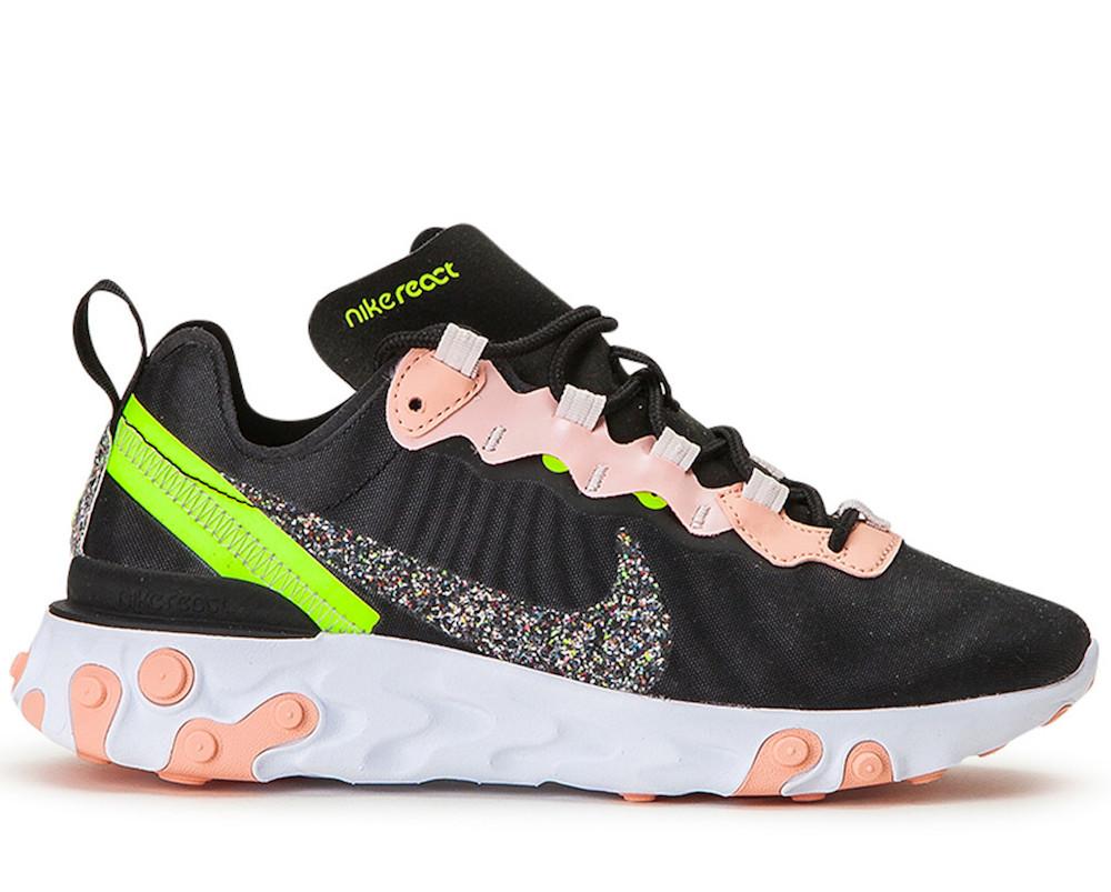 React Element 55 PRM Black/Volt Sneakers