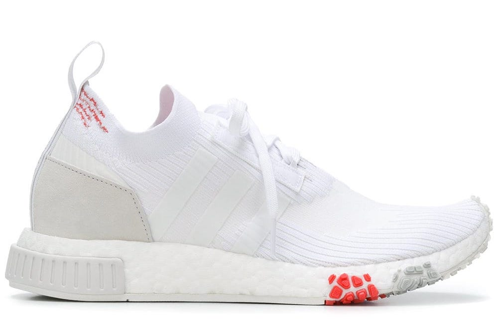 73180e8ff176e Designer Style ID  CQ2033 IN STOCK Retail Price   260.00. Description Adidas  Originals NMD Racer Primeknit Sneakers Cloud White Trace Scarlet