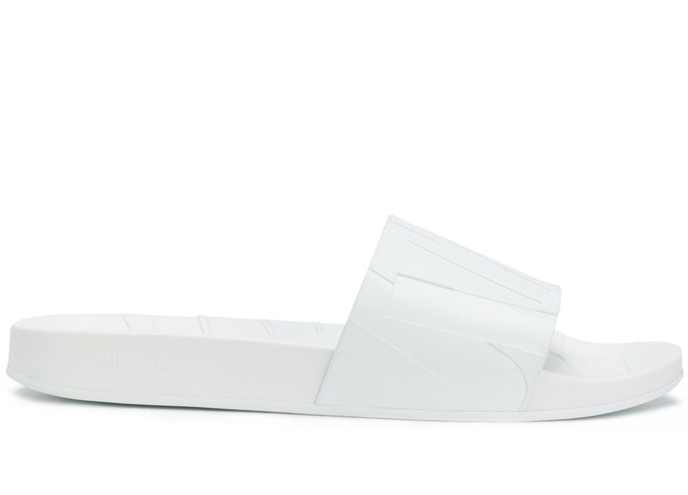 Jimmy Choo Rey Logo Slides Sandals